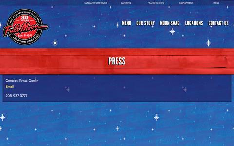 Screenshot of Press Page fullmoonbbq.com - Full Moon BBQ Press Contact - captured Feb. 12, 2018