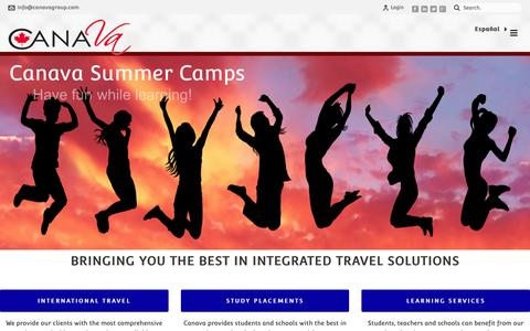 Screenshot of Home Page canavagroup.com - Canava Group | The Travel, Education & Camp Experts - captured Dec. 7, 2015