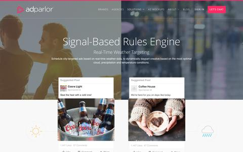 Screenshot of adparlor.com - Signal-Based Rules Engine | AdParlor - captured April 11, 2017