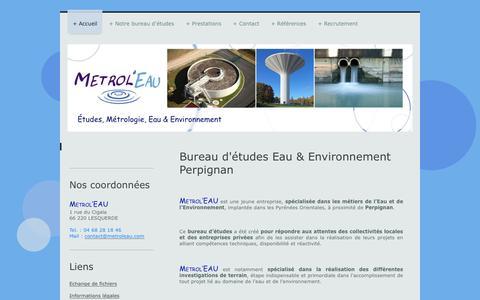 Screenshot of Home Page metroleau.com - Metrol'EAU, Bureau d'études Eau & Environnement - Accueil - captured June 10, 2017