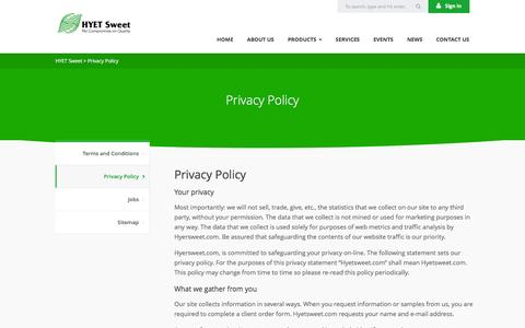 Screenshot of Privacy Page hyetsweet.com - Privacy Policy   HYET Sweet - captured Jan. 24, 2016