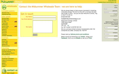 Screenshot of Contact Page midsummerwholesale.co.uk - Midsummer Wholesale - Contact us - address phone email - captured Oct. 27, 2014