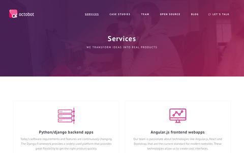 Screenshot of Services Page octobot.io - Octobot - Services - captured Dec. 14, 2016