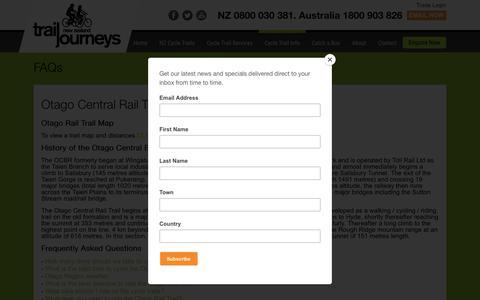 Screenshot of FAQ Page trailjourneys.co.nz - Otago Rail Trail FAQs | Trail Journeys - captured Dec. 3, 2018
