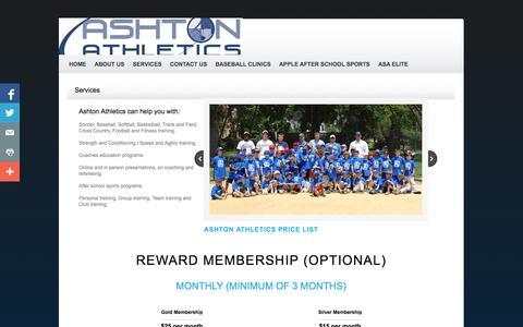 Screenshot of Services Page ashtonathletics.com - Services - captured Sept. 30, 2014