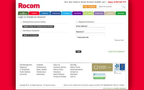 Screenshot of Login Page rocom.co.uk - Customer Login - captured Jan. 11, 2016