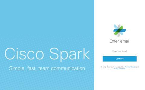 Screenshot of Login Page ciscospark.com - Sign in to Cisco Spark - captured Jan. 5, 2017