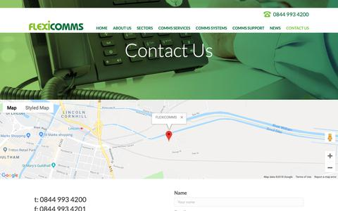 Screenshot of Contact Page flexicomms.co.uk - Contact Us - FlexiComms - captured Oct. 1, 2018