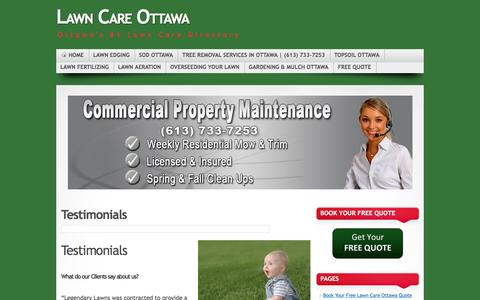 Screenshot of Testimonials Page lawncareottawa.com - Lawn Care Ottawa Testimonials | Lawn Care Ottawa - captured Nov. 6, 2016