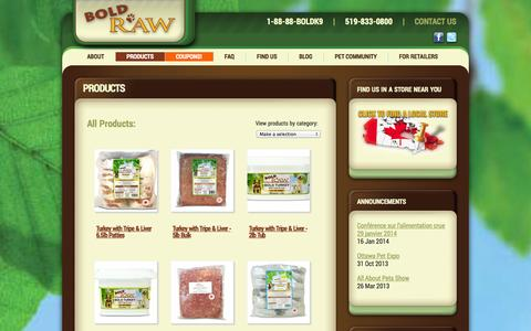 Screenshot of Products Page boldraw.com - Full Product List - Bold Raw - captured Oct. 5, 2014