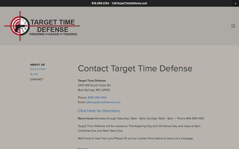Screenshot of Contact Page targettimedefense.com - Contact Target Time Defense Firearms - Shooting Range - captured Nov. 6, 2017