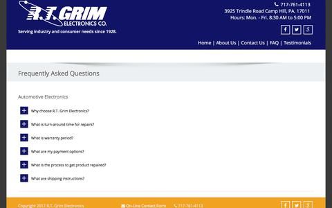 Screenshot of FAQ Page rtgrim.com - Frequently Asked Questions - R.T. Grim - captured Oct. 18, 2017