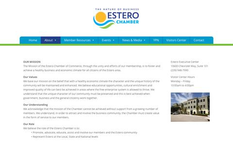 Screenshot of About Page esterochamber.org - Chamber of Commerce of Estero, Florida Visit Us to Learn More - captured Oct. 24, 2018
