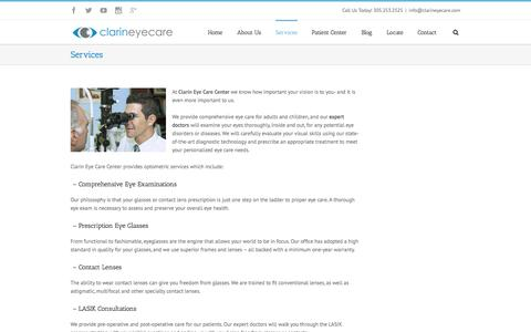 Screenshot of Services Page clarineyecare.com - Eye doctors who provide full-scope optometric care | → Eye Doctor In Miami | Miami Optometrist | Clarin Eye Care - captured Dec. 9, 2015
