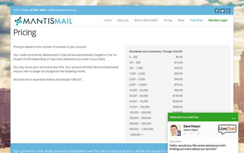 Screenshot of Pricing Page mantismail.com.au - Email Marketing and Newsletter Solutions Australia | MantisMail - captured Oct. 30, 2017