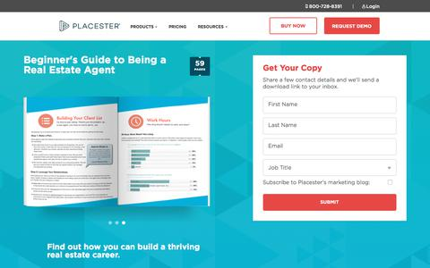 Screenshot of Landing Page placester.com - Beginner's Guide to Being a Real Estate Agent | Placester - captured June 1, 2018