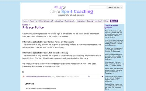 Screenshot of Privacy Page clearspiritcoaching.co.uk - Privacy Policy - Clear Spirit Coaching - captured Sept. 29, 2014