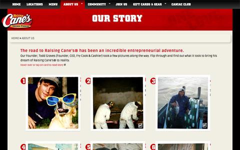 Screenshot of About Page raisingcanes.com - Our Story | Raising Cane's | Chicken Fingers | Cane's Sauce - captured Dec. 2, 2016
