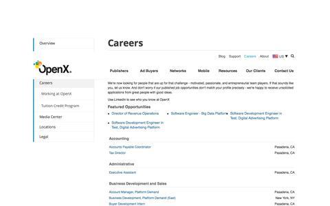 Screenshot of Jobs Page openx.com - Careers | OpenX - captured June 16, 2015
