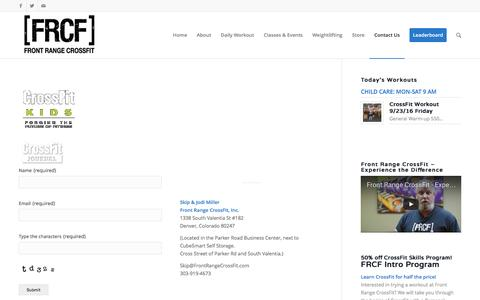 Screenshot of Contact Page frontrangecrossfit.com - Contact Us | Front Range CrossFit - captured Sept. 26, 2016