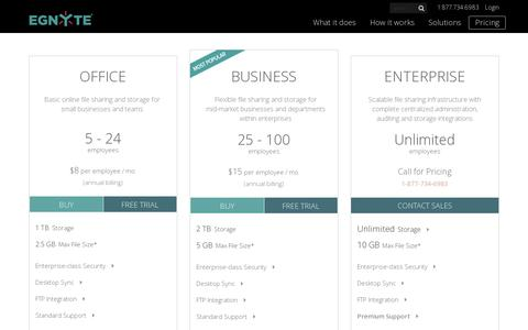 Screenshot of Pricing Page egnyte.com - Costs & Prices For Online Storage & File Sharing Solutions - captured July 18, 2014