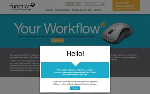 Screenshot of Home Page function-4.com - Equipment Dealer and Workflow Advisors | Function4 - captured Feb. 9, 2016