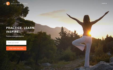 Screenshot of Signup Page yogainternational.com - Get Started Today | Yoga International - captured Oct. 19, 2018