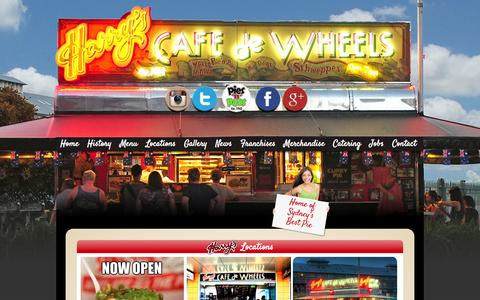 Screenshot of Locations Page harryscafedewheels.com.au - Locations Archive - Harrys Cafe De Wheels - captured Sept. 29, 2014