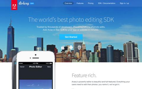 Screenshot of Developers Page aviary.com - Aviary SDK - captured Oct. 22, 2014