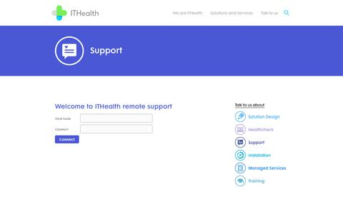 Screenshot of Support Page ithealth.co.uk - Support - ITHealth - captured Oct. 9, 2017