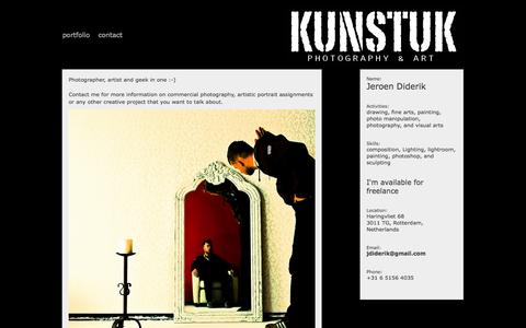 Screenshot of About Page Contact Page paspartout.com - contact - Kunstuk Photography & Art - captured Oct. 23, 2014