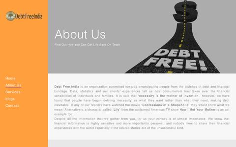 Screenshot of About Page debtfreeindia.com - Debt Free India |   About Us - captured Dec. 9, 2018