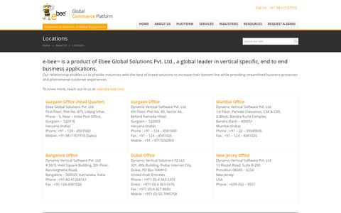 Screenshot of Locations Page e-bee.com - Ecommerce Software and Web Commerce Platform Solution Company  Locations - Ecommerce Software and Web Commerce Platform Solution Company - captured Nov. 2, 2014
