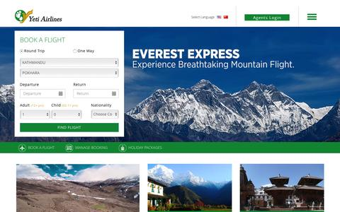 Screenshot of Home Page yetiairlines.com - Welcome to Yeti Airlines - captured Nov. 21, 2016