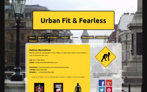 Screenshot of Contact Page urbanfitandfearless.com - Krav Maga Classes | London | Urban Fit & Fearless - captured Oct. 7, 2014