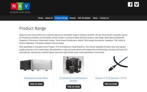 Screenshot of Products Page networkav.com.au - Product Range - Network Audio Visual - captured Nov. 29, 2016