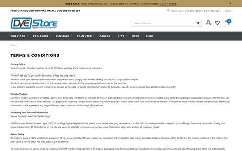 Screenshot of Terms Page dvestore.com - Terms  & Conditions - captured June 3, 2017