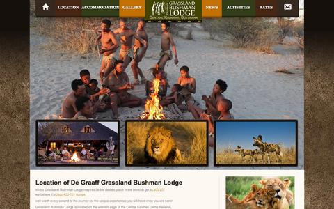 Screenshot of Locations Page grasslandlodge.com - Locations | De Graaff Grassland Bushman Lodge - captured Oct. 5, 2014