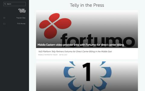 Screenshot of Press Page telly.com - Telly - Press - captured July 13, 2018