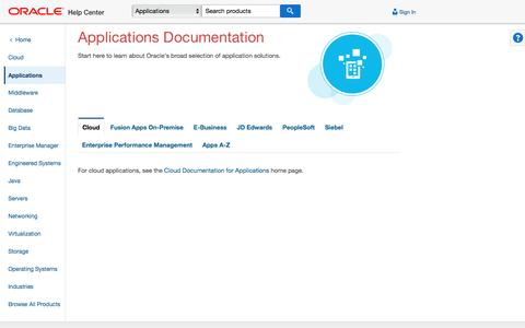 Screenshot of oracle.com - Oracle Applications Help Center - captured May 18, 2017