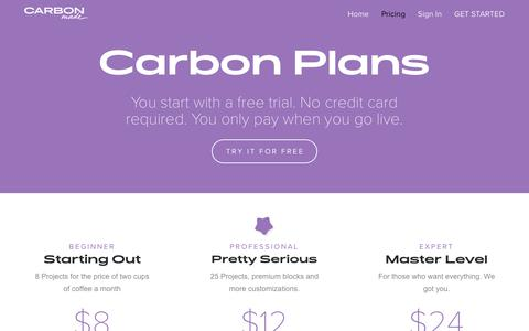 Screenshot of Pricing Page carbonmade.com - Pricing - Carbonmade - captured May 17, 2019