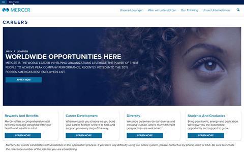 Screenshot of Jobs Page mercer.ch - Weltweite Stellenangebote - captured March 2, 2016
