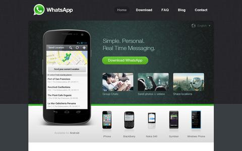 Screenshot of Home Page whatsapp.com - WhatsApp  :: Home - captured July 11, 2014