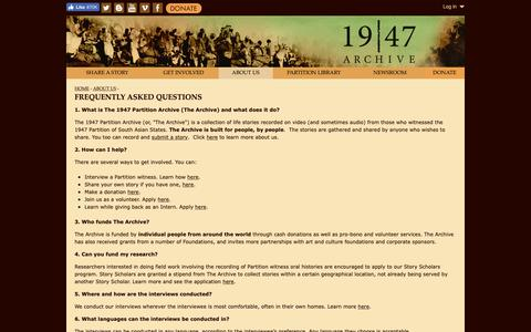 Screenshot of FAQ Page 1947partitionarchive.org - Frequently Asked Questions | www.1947partitionarchive.org - captured Nov. 16, 2018