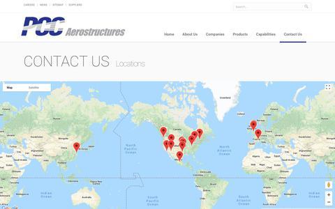 Screenshot of Locations Page pccaero.com - Locations   PCC Aerostructures - captured July 5, 2018