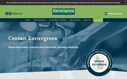 Screenshot of Contact Page envirogreen.co.uk - Contact Envirogreen   Waste disposal: Slough, Berkshire - UK - captured Sept. 28, 2018