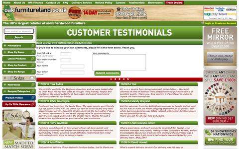 Screenshot of Testimonials Page oakfurnitureland.co.uk - Oak Furniture Land Reviews | Customer Testimonials & Feedback - captured Sept. 22, 2014