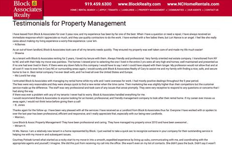 Screenshot of Testimonials Page nchomerentals.com - Testimonials for Property Management - Block & Associates Realty - captured Oct. 6, 2018