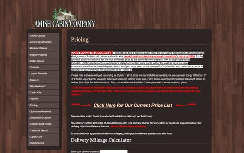 Screenshot of Pricing Page amishcabincompany.com - Pricing - Amish Cabin Company Amish Cabin Company - captured Dec. 5, 2016
