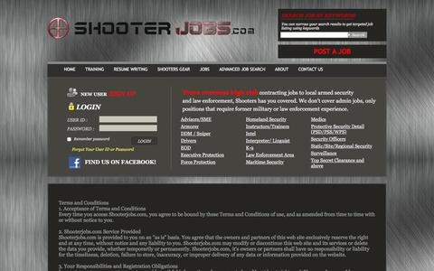 Screenshot of Terms Page shooterjobs.com - terms and conditions - captured Nov. 15, 2017